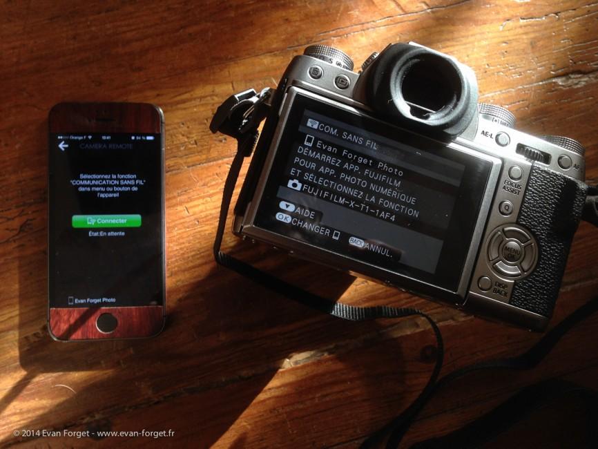 L'appareil et l'application sur un iphone